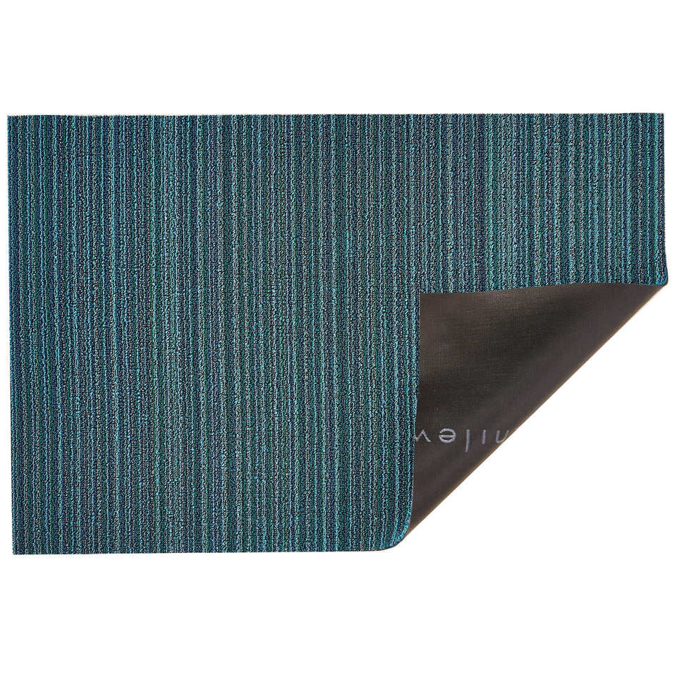 Turquoise Skinny Stripe Shag Mat by Chilewich