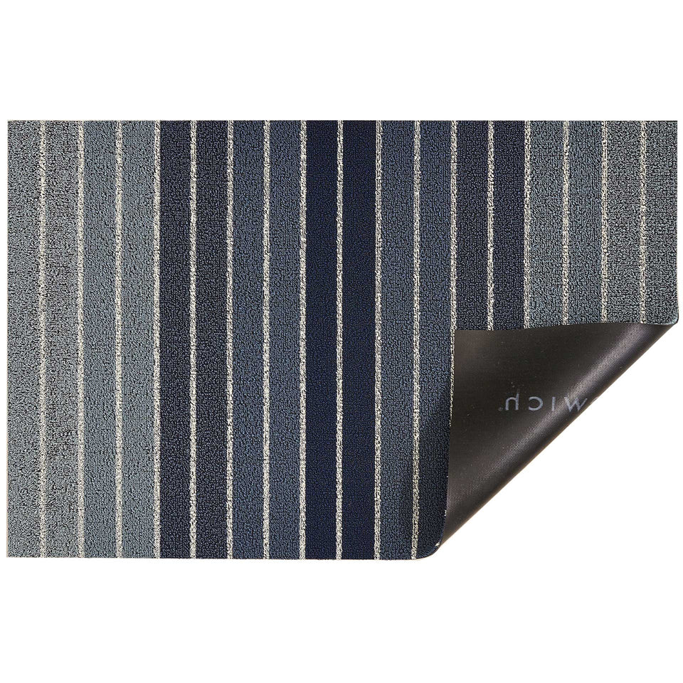 Denim Block Stripe Shag Mat by Chilewich