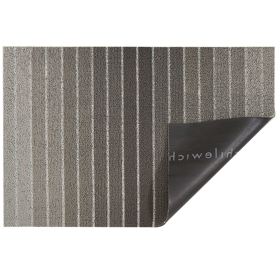 Taupe Block Stripe Shag Mat by Chilewich