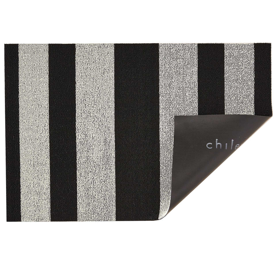 Black White Bold Stripe Shag Mat by Chilewich