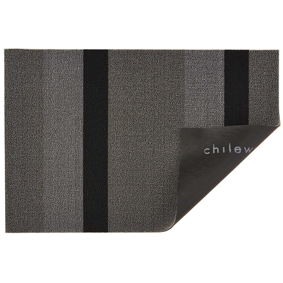 Silver Black Bold Stripe Shag Mat by Chilewich