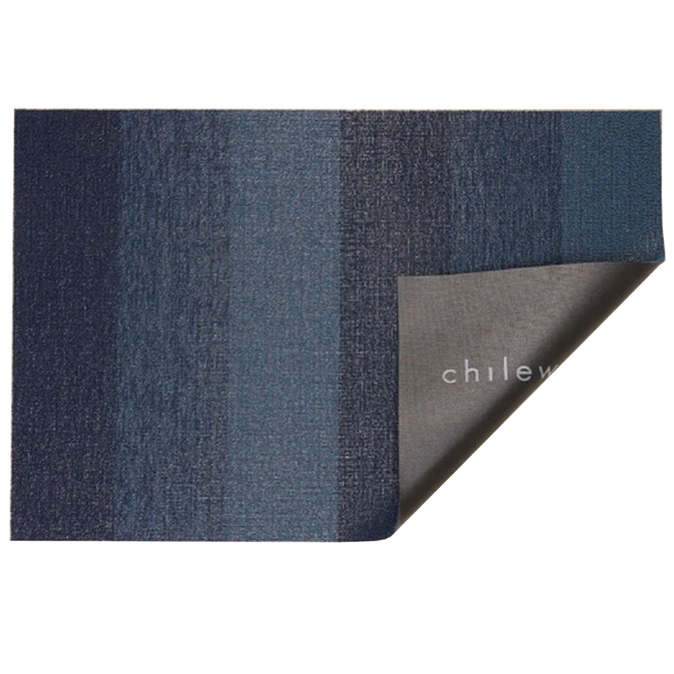 Bay Blue Marbled Stripe Shag Mat by Chilewich