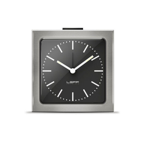Steel Black Index Block Alarm Clock by Leff Amsterdam - Vertigo Home
