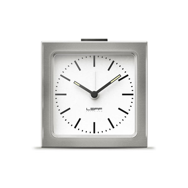 Steel White Index Block Alarm Clock by Leff Amsterdam