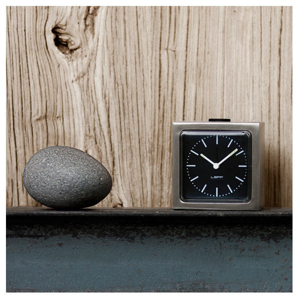 Steel Black Index Block Alarm Clock by Leff Amsterdam