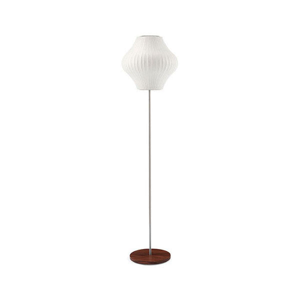 Pear Lotus Floor Bubble Lamp with Walnut Base - George Nelson - Modernica - Vertigo Home