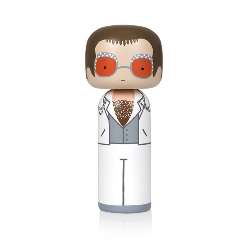 Elton in White Wooden Kokeshi Doll by Sketch.inc for lucie kaas