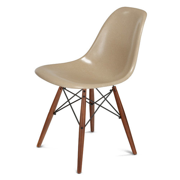 Side Shell Chair w/ Walnut + Black Wire Dowel Base by Modernica