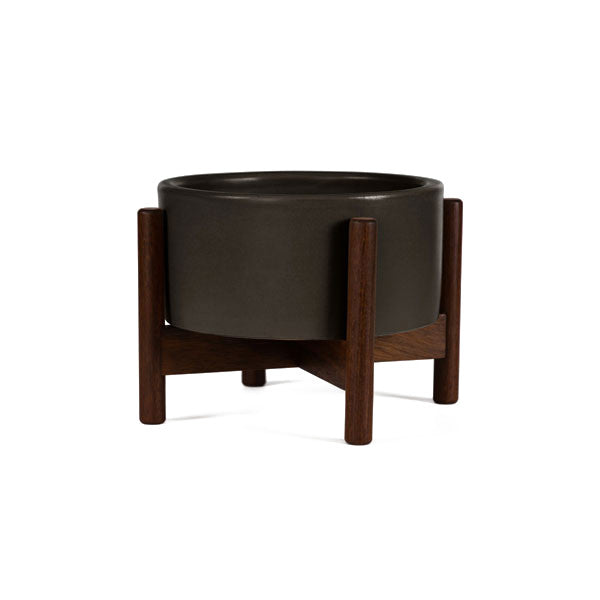 Charcoal Case Study Desk Top Cylinder Planter w/ Wood Stand