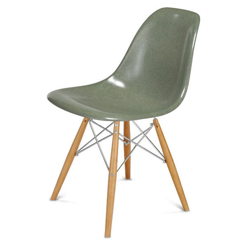 Side Shell Chair W/ Maple + Chrome Wire Dowel Base By Modernica