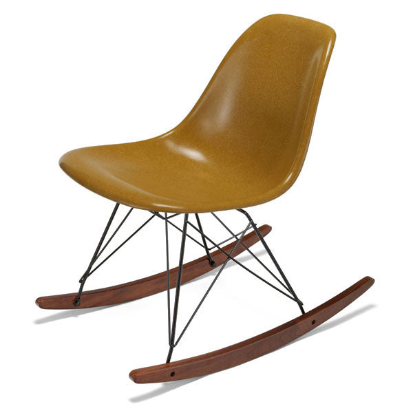 Side Shell Rocker w/ Walnut + Black Wire Dowel Base by Modernica