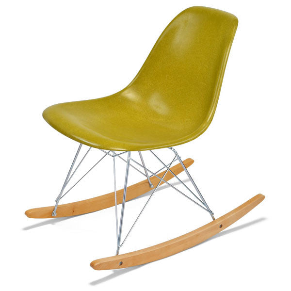 Side Shell Rocker w/ Maple + Zinc Wire Dowel Base by Modernica