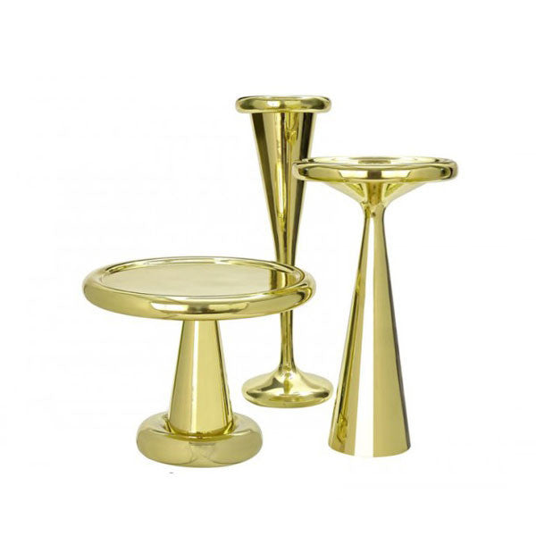 Spun Tables and Champagne Bucket - Brass - by Tom Dixon at www.vertigohome.us