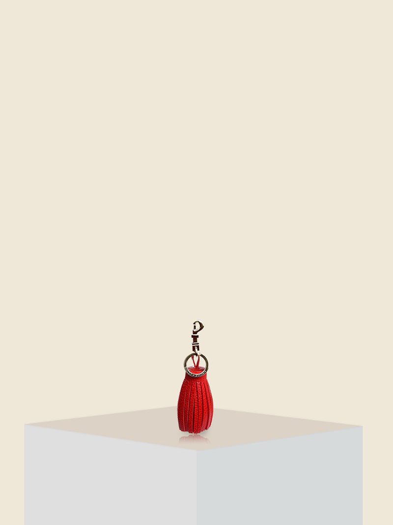 FAT RED TASSEL and KEY CHARM