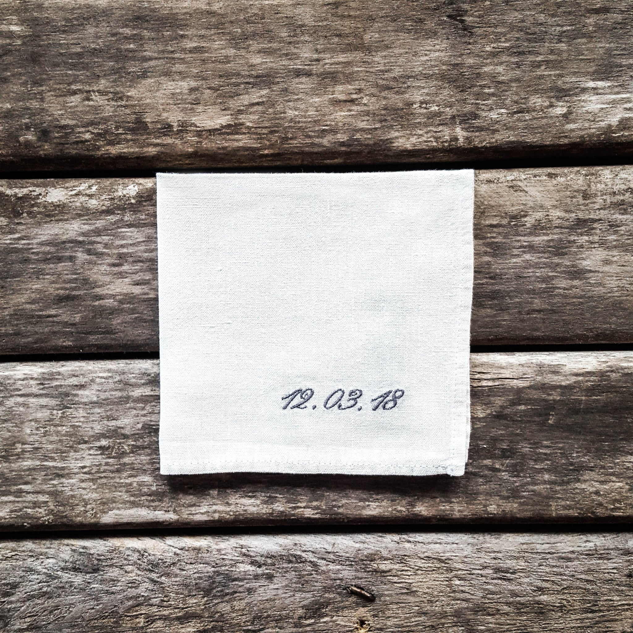 White personalized linen handkerchief, handkerchief with date