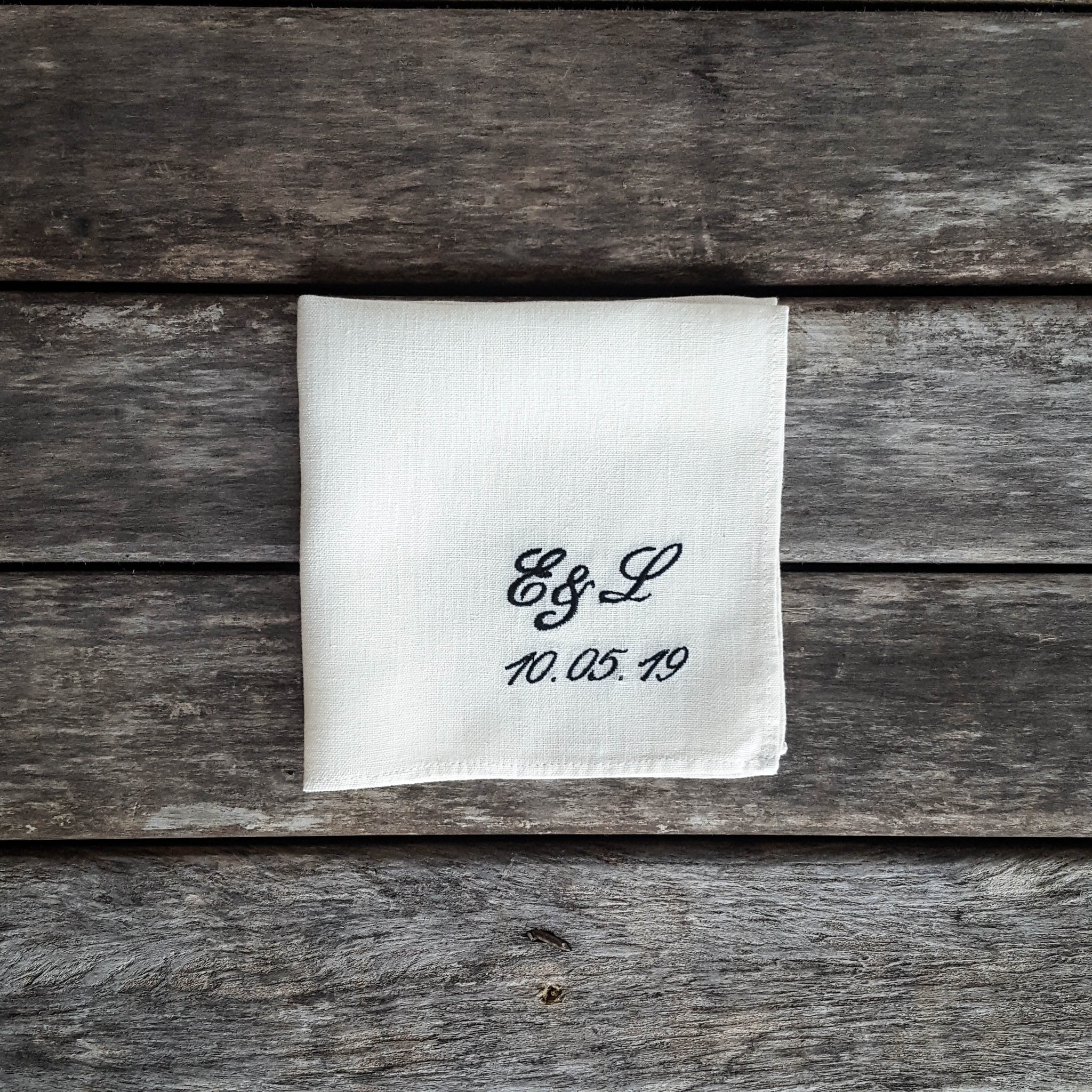 White personalized linen handkerchief, handkerchief with initials and date
