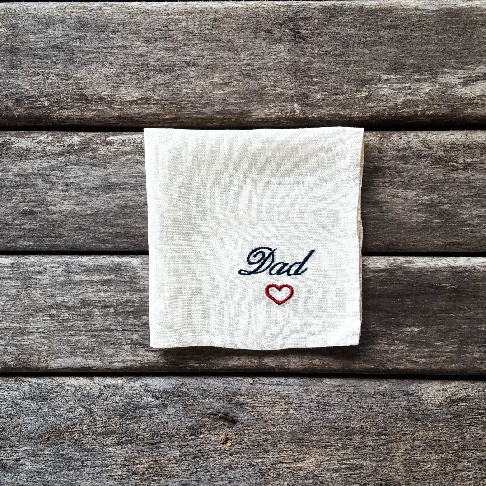 White embroidered linen handkerchief, Dad handkerchief