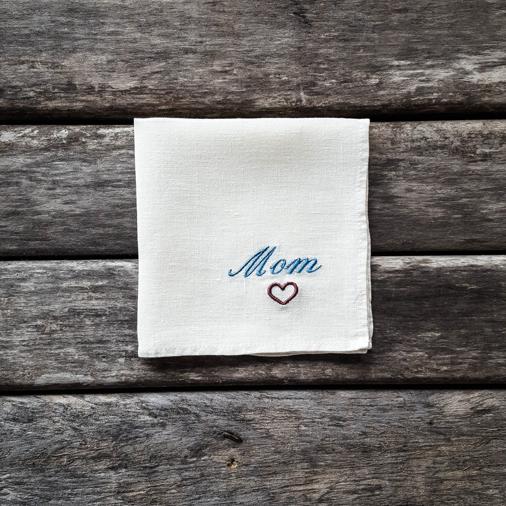 White embroidered linen handkerchief, Mom handkerchief