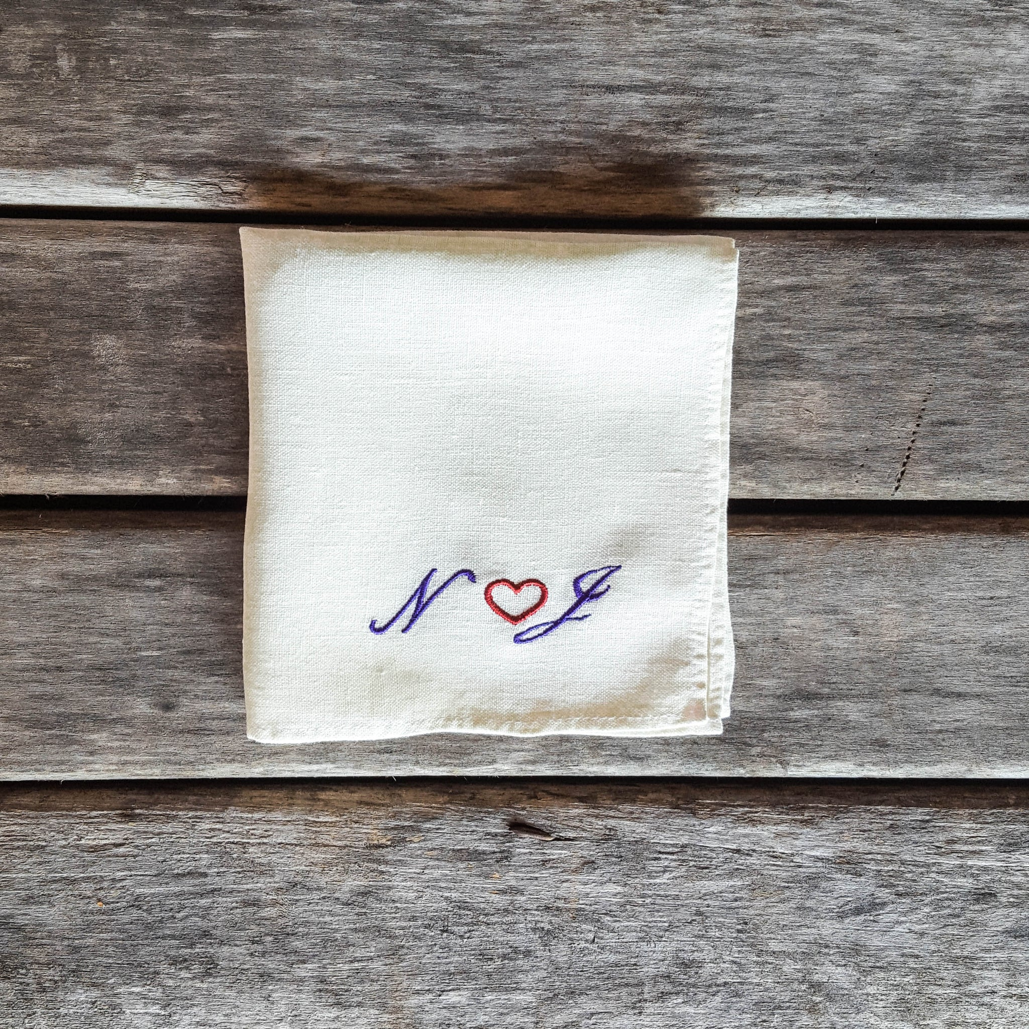 White personalized linen handkerchief with initials and heart