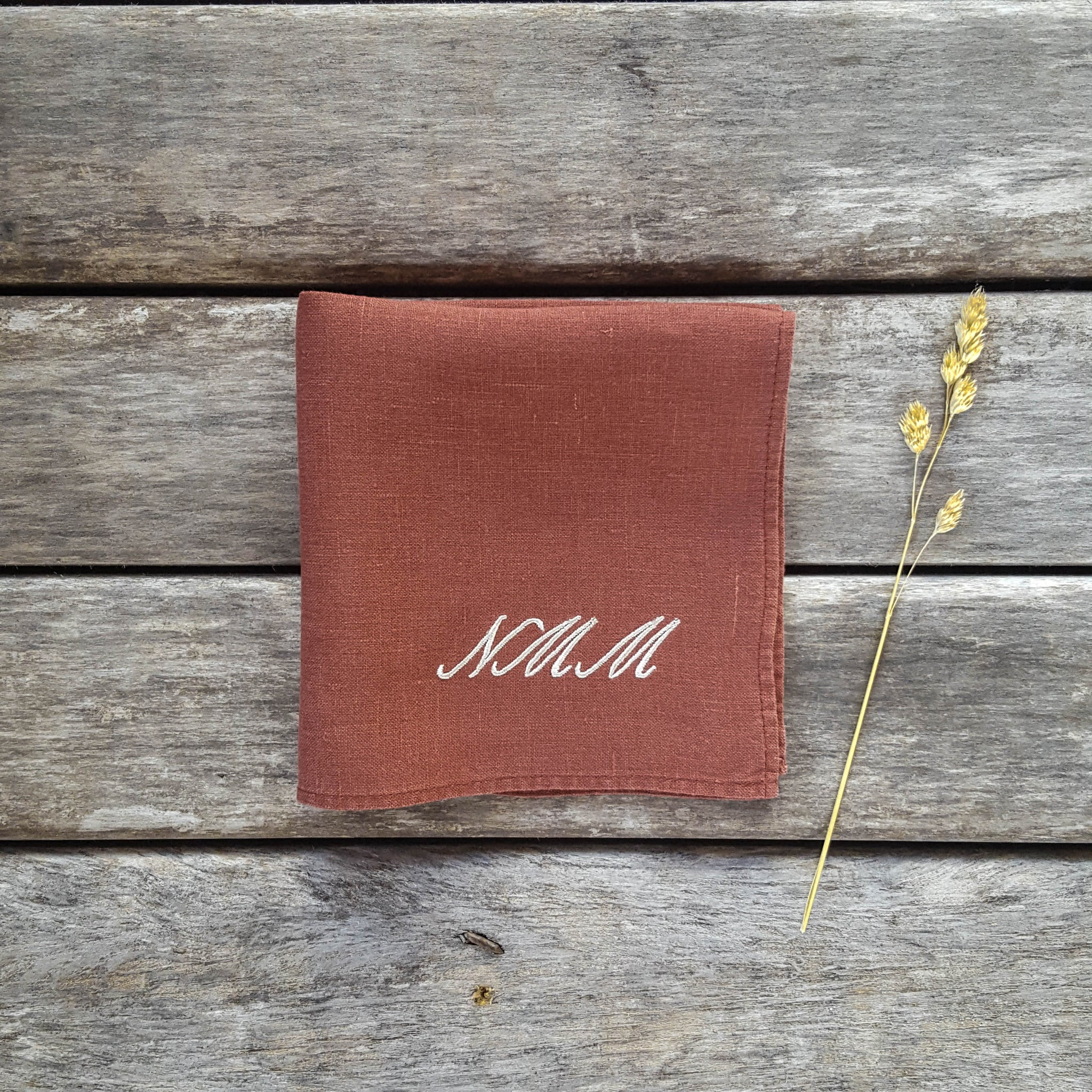 Burnt orange monogrammed linen handkerchief, Palace Script font