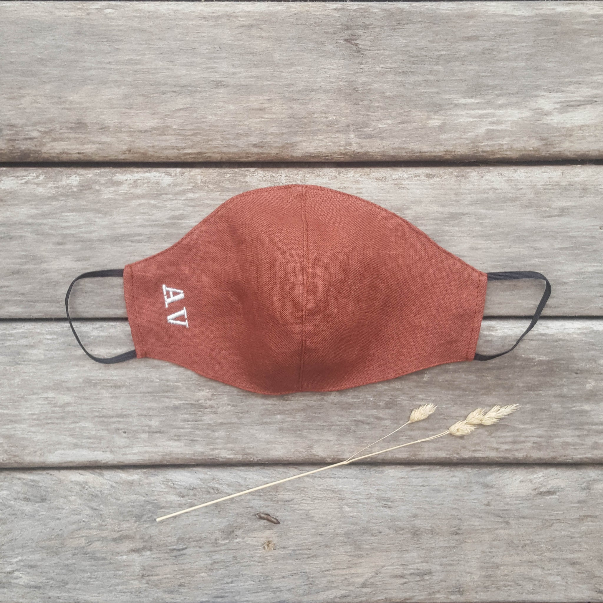 Burnt orange linen face mask with an insert for filter