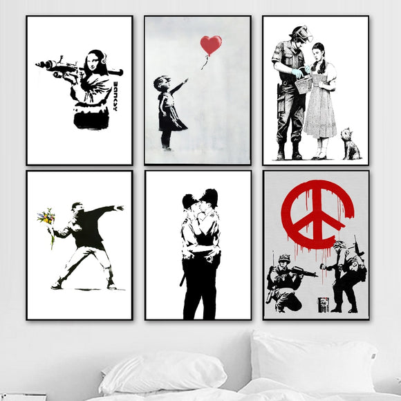 Abstract Wall Art - BANKSY Graffiti Canvas Art (Various)