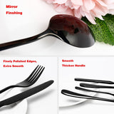 24 pc Black Stainless Steel Dinnerware Set