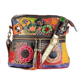 Patchwork Genuine Leather Pouch Bag
