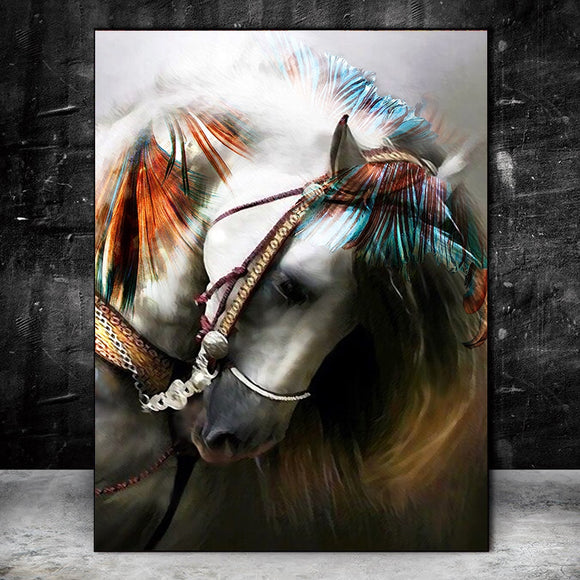 Abstract Wall Art - Colourful Horse