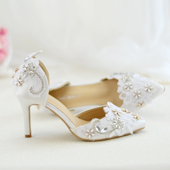White Lace Appliqué Wedding Shoes