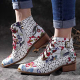 2019 Womens/Girls Flower Patterned Ankle Boots