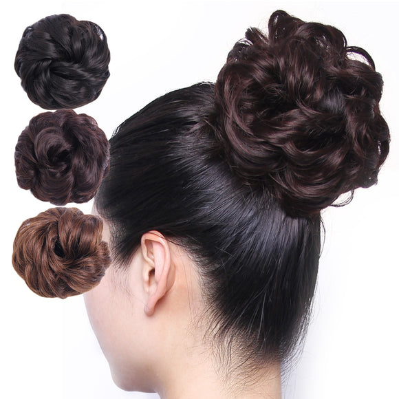 (B) Curly Messy Bun/Chignon Hair Piece/Scrunchie