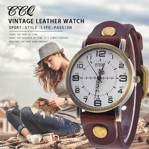 Vintage Leather Bracelet Watch