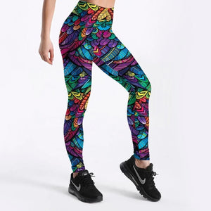 Coloured Feathers 3D Printed Women's Leggings