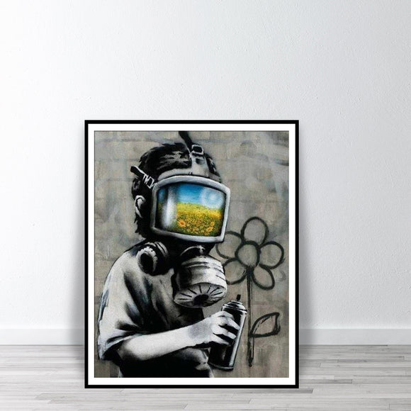 Abstract Wall Art - BANKSY Canvas Sunflower Field Mask