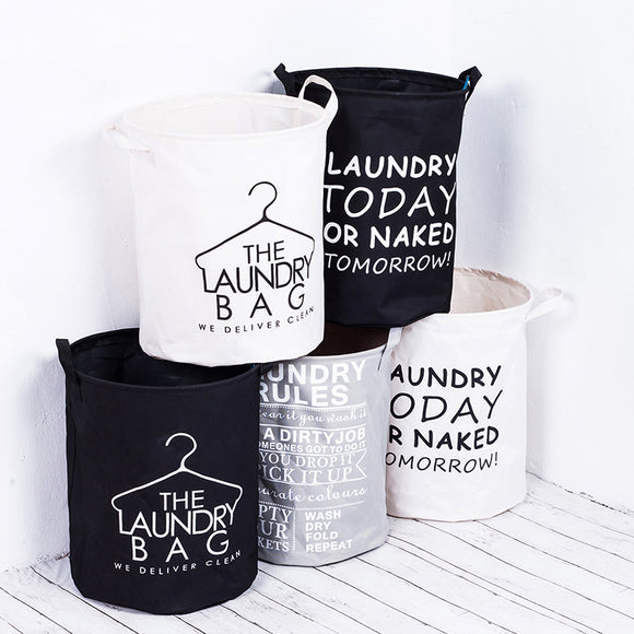 Waterproof Foldable Fabric Laundry Basket With Handles