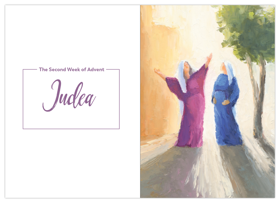 A sample page of the second week of Advent in Judea from the Catholic journal, Rejoice! Advent Meditations with Mary by Fr. Mark Toups and Ascension. Mary rejoices with Elizabeth.