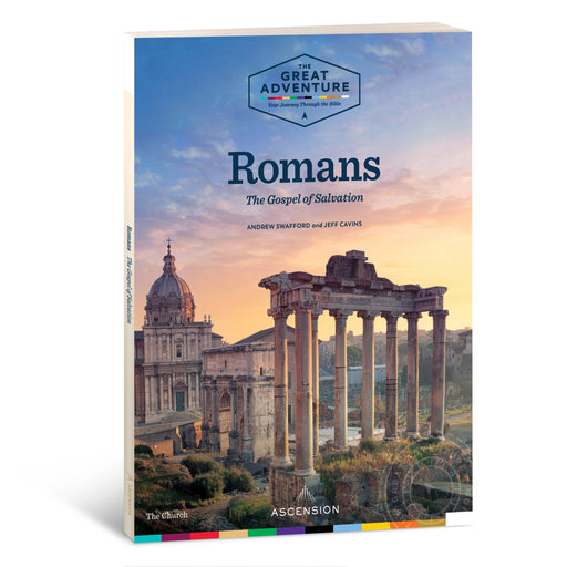 The Workbook cover for the Catholic Bible Study, Romans: The Gospel of Salvation by Andrew Swafford and Jeff Cavins published by Ascension. The cover features Rome at sunset.
