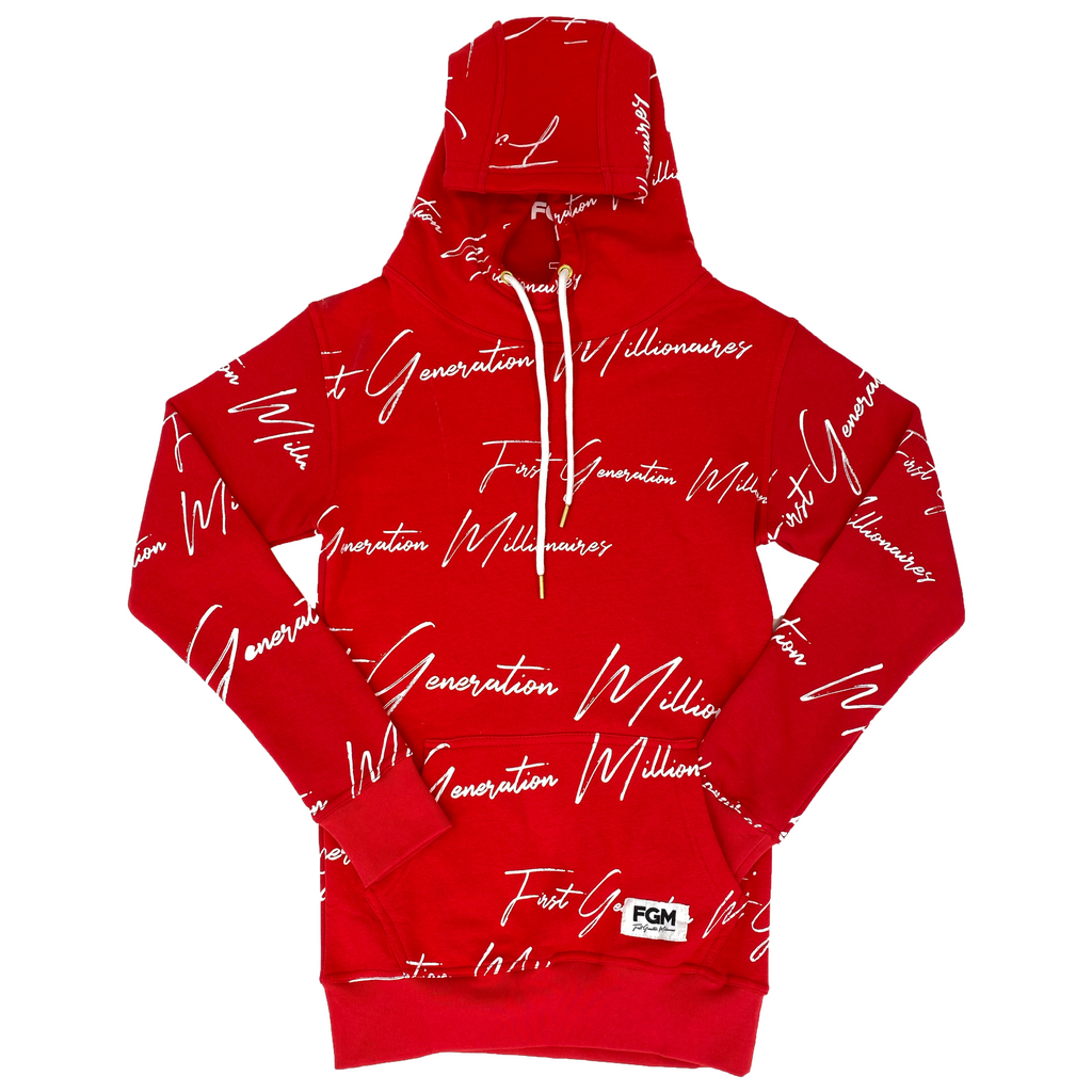 Womens All Over FGM Elegant Anorak Hoodie RED