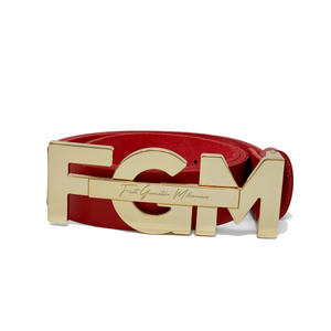 "Casual FGM Initial Belt 1 1/2"" (38mm) - RED"