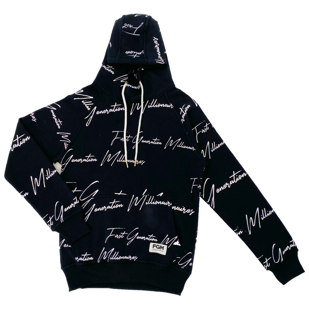 MENS All Over FGM Elegant Anorak Hoodie BLACK