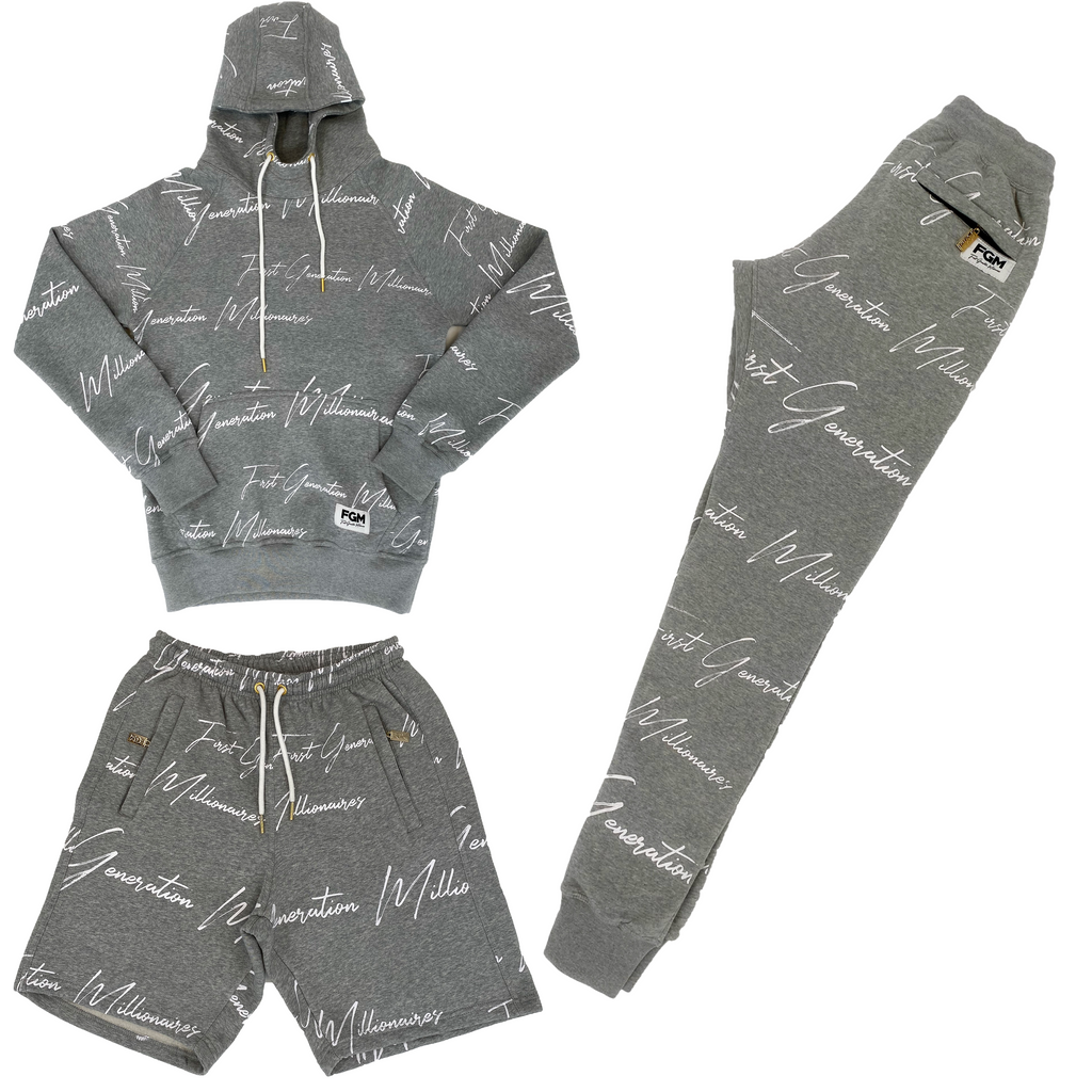 Mens All Over FGM Printed 3 Piece Tracksuit GRAY