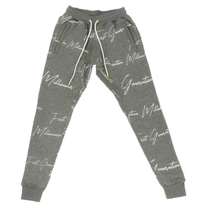 Mens All Over Elegant FGM Print Joggers GRAY