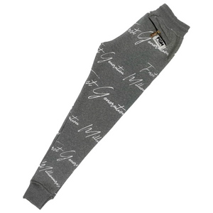 All Over Elegant FGM Print Joggers GRAY