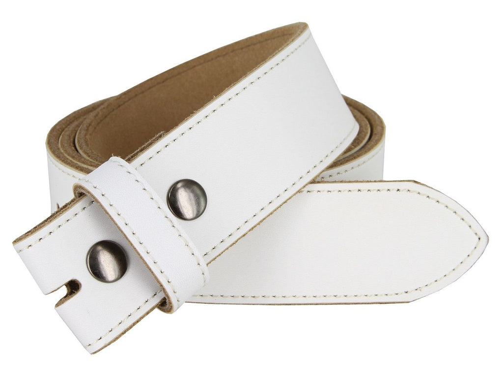 "(Casual) - White Genuine Leather Belt Strap 1-1/2"" (38mm)"