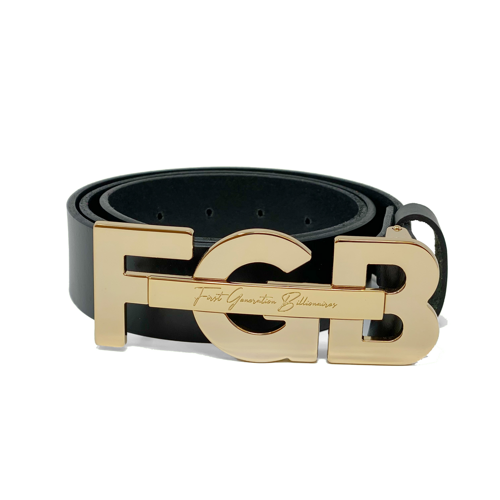 "Casual FGB Initial Belt 1 1/2"" (38mm) - BLACK"