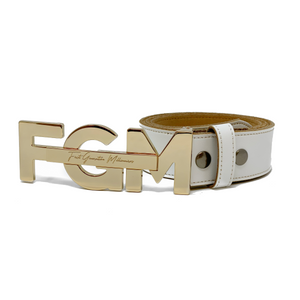 "Casual FGM Initial Belt 1 1/2"" (38mm) - WHITE"