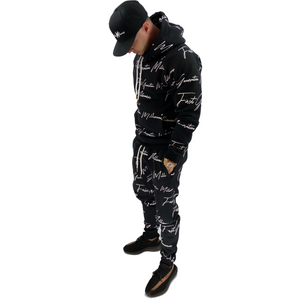 Mens All Over FGM Printed 2 Piece Tracksuit BLACK