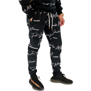 Mens All Over Elegant FGM Print Joggers BLACK
