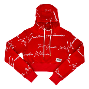 All Over FGM Print Crop Hoodie RED